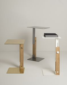 Slide table_height adjustable side table from solid oak wood and hand crafted metal top options: brass, copper natural steel and powder coated. Manufactured by Mingardo