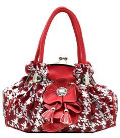 Nice red flower hand bag