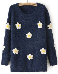 Navy Long Sleeve Applique Loose Sweater US$35.08