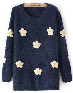 Navy Long Sleeve Applique Loose Sweater - Sheinside.com