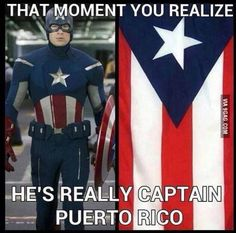 The Captain America/Puerto Rico pic AND Marvel's majestic response. we still got it The Puerto Rican flag was first used on December 1895 during a meeting which advocated independence for Puerto Rico and Cuba from Spanish rule Memes Marvel, Dc Memes, Avengers Memes, Marvel Dc, Marvel Comics, Marvel Funny, Marvel Universe, Funny Shit, Funny Humor
