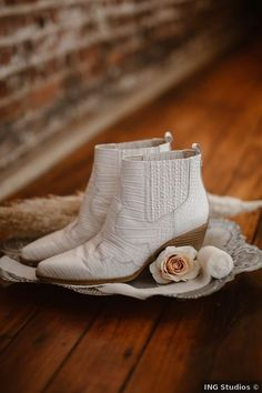 Rustic white leather booties as wedding shoes - unique bride wedding shoe idea {ING Studios}