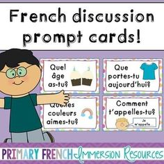 Primary French discussion prompt cards by Primary French Immersion Study French, Core French, French Lessons, Spanish Lessons, Math Lessons, How To Speak French, Learn French, Learn English, Teaching French Immersion