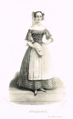 Madame PERSIANI (dans l'Elisire d'Amore) - Fanny Tacchinardi-Persiani (4/10/1812 - 3/05/1867) - Soprano - chanteuse d'opéra italienne - d'après Alexandre Lacauchie - 1841 - MAS Estampes Anciennes - Antique Prints