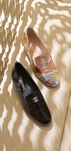 Printed lurex crepe loafers embellished... - CHANEL BELLA DONNA J'ADORE
