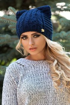 Cat knitted hat Navy color Cat Beanie Winter Wool by FEIUSHKA Knitted Cat e1d859534cef