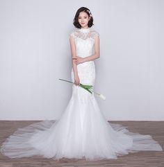 Custom Made Train Tulle Lace Qipao / Cheongsam Wedding Dress