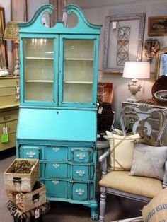 Awesome Secretary painted with Turquoise Toulouse snd and White Ash Farmhouse Paint.