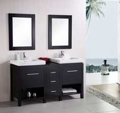 "The Adorna 60 inch Transitional Double Vessel Sink Vanity Espresso Finish Set, Flexible Compact Double-Sink Vanity, http://www.listvanities.com/transitional-bathroom-vanity.html open storage, cabinet space, and drawers - the versatile 60"" vanity set has it all. And with straight lines, elevated drop-in sinks, and high visual contrast, the New York will stand out in any modern bathroom setting."