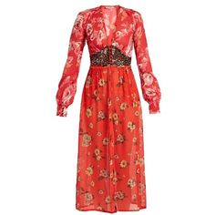 Attico Beatriz floral-print silk-georgette dress ($1,404) ❤ liked on Polyvore featuring dresses, red, shiny dress, flower pattern dress, poppy dress, red dress and floral necktie