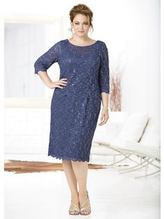 Lace Allure Layered Dress, Mother of the Bride, plus size