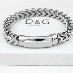 "DG Men's 7.5"" Silver Stainless Steel,12mm Franco ID Chain Bracelet Unisex~~BOX #DGGIFTINC #Bracelet Cool Mens Bracelets, Bangle Bracelets With Charms, Paracord Bracelets, Silver Bracelets, Viking Bracelet, Bracelet Men, Mens Silver Jewelry, Luxury Watches For Men, Braided Leather"