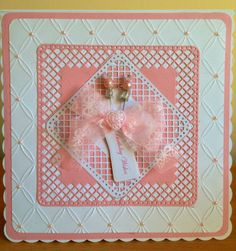 Card using tattered lace embossing folder and tonic trellis die