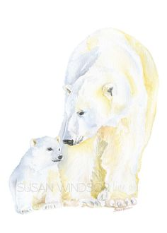 Polar Bears Watercolor Painting by Susan Windsor