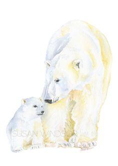 Polar Bears Watercolor Painting by Susan Windsor