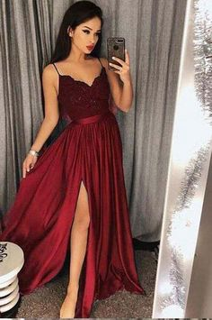 753b8cf0626 SheerGirl prom dresses Custom Size   Burgundy Spaghetti Strap Prom Dresses  Long Lace V Neck Maxi High Split Evening Ball Gowns 2018