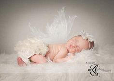 Newborn Photo Prop Set Cream or White ruffle bum baby bloomer and Chiffon Delicate Flower on Itty bitty headband-You choose your color. $18.95, via Etsy.