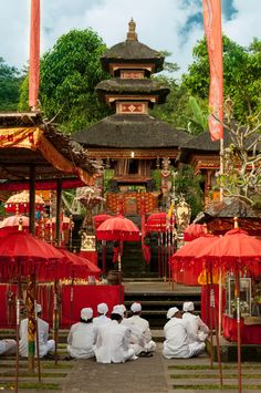 temple decorated in red-Bali