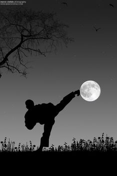 karate kicking moon, ♂ World martial art black and white photography Taekwondo by Marco Ciofalo Digispace
