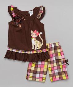 Look what I found on #zulily! Brown Cat Top & Plaid Shorts - Toddler & Girls #zulilyfinds