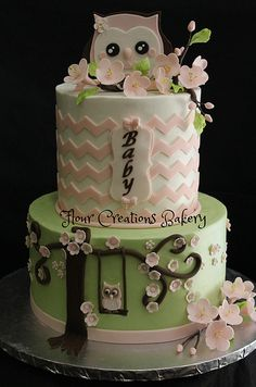 Green & Pink Chevron Owl Baby Shower Cake