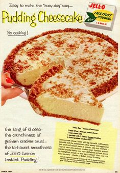 What is a 'Busy-day' lemon cheesecake? Get two easy vintage cheesecake pie recipes that require no cooking, no special pans, and no expensive ingredients. Lemon Cheesecake Recipes, Lemon Recipes, Pie Recipes, Dessert Recipes, Cooking Recipes, Pineapple Cheesecake, Family Recipes, Pudding Desserts, Cheesecake Pudding