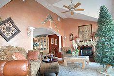 Metallic faux finish living room