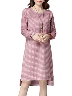 Sale 10% (24.99$) - Loose Plaid Pocket Long Sleeve Split Women Dress