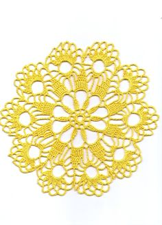 Wedding Crochet doily, lace doily, table decoration, crocheted place mat, center piece,doily tablecloth, table runner, napkin, yellow