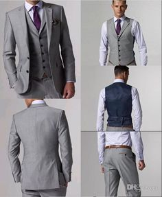 Wholesale Custom Made Slim Fit Groom Tuxedos Light Grey Side Slit Best man Suit Wedding Groomsman/Men Suits Bridegroom (Jacket+Pants+Tie+Vest) J156, Free shipping, $109.0/Piece | DHgate Mobile