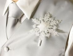 Boutonniere  Winter Snowflake  Button Hole  by BridalBouquetsbyKy, $15.00