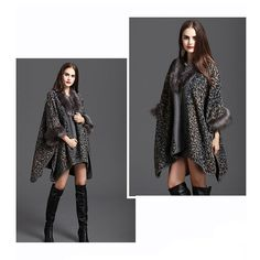 Women Luxury Faux Fur Shawl Wraps Cloak Coat Sweater Cape Poncho: Amazon.co.uk: Clothing