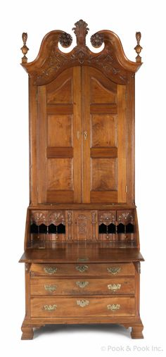 Lancaster, Pennsylvania Chippendale carved walnut desk and bookcase, signed by cabinet maker William Dennis and dated 1789 Antique Desk, Antique Furniture, Home Furniture, Furniture Makers, Cabinet Makers, Furniture Styles, Panel Doors, Art Nouveau, Traditional House