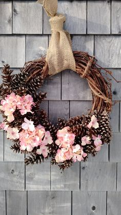 Hydrangea Pinecone Wreath 20 inch by scarletsmile on Etsy