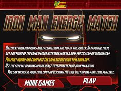 Play Iron Man Energy Match Game -  #IronMan Iron Man Games, Games For Boys, Play Online, Matching Games