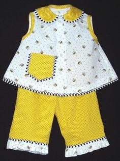 "Michie ""Diaper Shirt & Shorts (lengthened)"", Bumblebee Pique"
