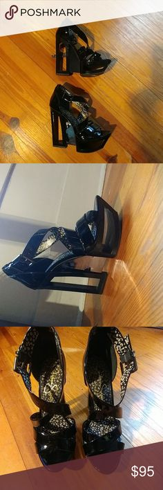 Jessica Simpson Thunder shoes Black patent shoes with adjustable ankle straps. Size 10 B.  Sold out in many stores. Excellent condition! Jessica Simpson Shoes