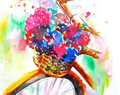 Watercolor Paris Illustration, Bicycle, French Street Montmartre Painting by Lana Moes
