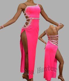 Sexy Hot Pink Ballroom CrystalsSamba Cha Cha Ramba Latin US 12 Dance Dress #1740