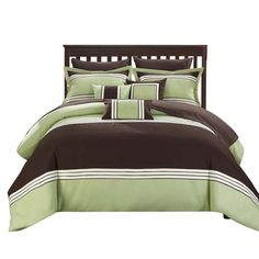 Karsa Falcon 10 Piece Comforter Sheet Set Bed In A Bag King & Queen Green