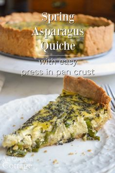A simple and delicious spring asparagus quiche that's easy to make even on weekdays with a quick, yet flaky, press-in-the-pan crust. Asparagus Quiche, Asparagus Recipe, Brunch Egg Dishes, Easy Quiche, Whole Food Recipes, Healthy Recipes, Baked Vegetables, Veggies