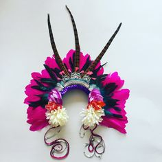 Rio Pink Feather Carnival Festival Head Dress Statement by ZEDHEAD