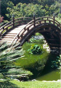 a bridge in the Japanese garden section of The Huntington Gardens in Pasadena