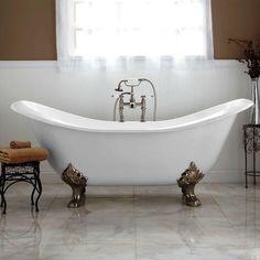 ❤️ This - Bellbrook Cast Iron Clawfoot Slipper Tub - Lion Paw Feet - Bathtubs - Bathroom Claw Bathtub, Clawfoot Tub Bathroom, Small Bathroom, Master Bathroom, Funky Bathroom, Antique Bathtub, Vintage Bathrooms, Bathroom Trends, Bathroom Interior