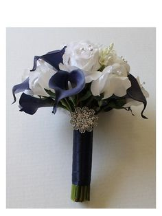 Navy Blue Wedding Bouquet Navy Blue Calla Lily by MGFloralDesign