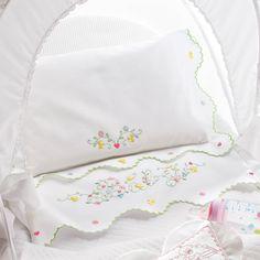 Cotone bianco  disegnato per lenzuolino culla ricamo punti ricamo