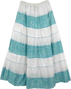 Amish Summer Cotton Long Skirt TLB Long Skirt with White and Green/Blue - Printed cotton horizontal panels alternate to create a hued, pleasant summer spring look on these soft cotton skirts Cotton Skirt, Cotton Fabric, Blue Skirt Outfits, Patent Heels, Spring Looks, Printed Cotton, Summer Dresses, Boho, Skirts