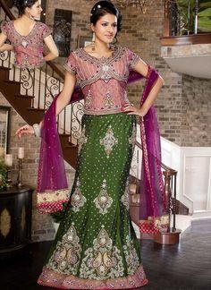 Embroidered Silk And Net Lehenga Choli