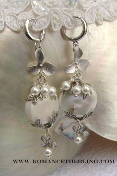 Custom Lg Coin Pearl Sterling Orchid Earrings ~