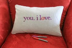 Show your love with this adorable pillow made with a plain throw pillow and Infinity Permanent Markers.  This is sure to make someone special